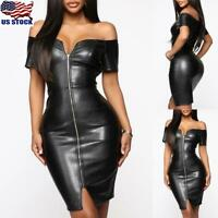 Women's PU Leather V Neck Mini Dress Ladies Short Sleeve Zipper Bodycon Dress US