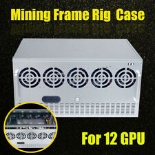 12 GPU Crypto Coin Mining Miner Frame Rig Case For ETH Currency Rigs Holder