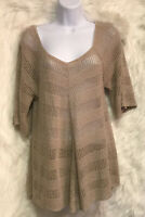 ND New Directions Tan Open Crochet Short Sleeve Sweater Top Sz M - EUC