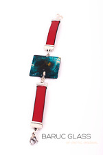 Bracelet Stainless Steel Recycled Glass Red Leather Handmade Designer For Women