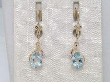 Aquamarin Ohrhänger 585 Gelbgold 14Kt Gold natürliche Aquamarine und Brillanten