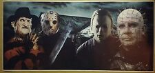 """Horror Killers ENORMOUS 24"""" x 52"""" Movie Poster Halloween Friday the 13th Freddy"""