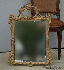 Vintage French Louis Xvi Rococo Bombay Wall Mantle Gold Beveled Mirror