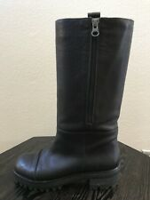 $1,200 Trendy MARNI Black Leather Motorcycle Style Combat Boots Size 37 Side Zip