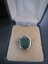 Green Emerald Faceted Gemstone Ring Sterling Silver Lades Sz 6.5 May Birthstone