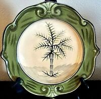 Sauvignon West Indies Dinner Plate A x1 Green Trim Palm Trees Scalloped