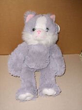 NOAHS ARK ANIMAL WORKSHOP PLUSH GRAY FUZZY CAT TAGS 16 IN