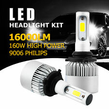 Pair Philips HB4 160W 16000LM COB LED Headlight Kit Light Bulbs 6500K White 9006