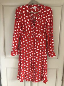 Boden Red Printed Dress Size 10