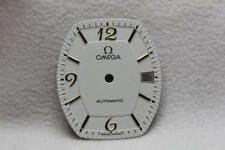 Omega White Tonneau Shaped Watch Dial - Gold Markers - NOS - 20.4 x 24mm 6/7