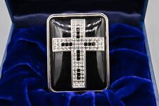 Halcyon Days Rhinestone Enamel Trinket Box, Black Cross Pendant, Art Deco, Black