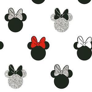Disney Minnie Mouse Glitzer G&b Kinder Tapete Kopf Silhouetten Weiß 105828