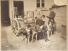 Vendeuse de lait Belgique Pays-Bas Chiens d'attelage Vintage albumine Déchirures
