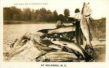 RPPC 10 Fishing Exaggeration Many Big Fish End of Perfect Day Kelowna BC Canada