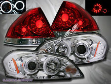 2006-2013 Chevy Impala CCFL Halo Projector Headlights Clear+ Tail Lights RED