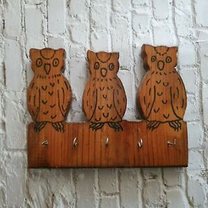 Handmade Wooden Owl Key Rack Vintage Arts And Crafts Wall Hanger Cottagecore