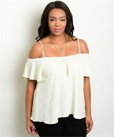 Womens Plus Size Ivory Cold Shoulder Top XL 1XL Spaghetti Strap Ruffled