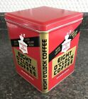 Vintage 7.5' Tall EIGHT O'CLOCK COFFEE Tin Can Square w/ Lid L2