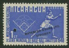 Nicaragua 1949 Softball 1c Waterlow sample in blue