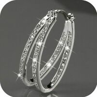Women's 925 Silver Filled CZ Crystal Big Hoop Huggie Earrings Wedding Jewelry