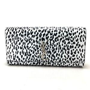 UNUSED SAINT LAURENT PARIS 326079 Cassandra Leopard Party Bag Clutch Bag