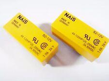 2 x SDS Relais 12V 2xEIN 2xAUS 250V 4A NAIS S2-12V Gold #10R72#