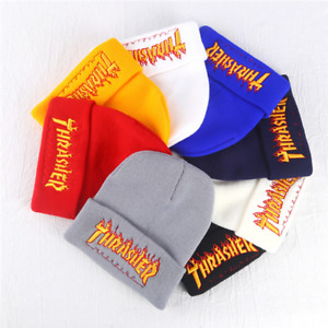 Hip-Hop Skateboard Sports Cap Men Women Knitted Flame Letters Embroidery Caps