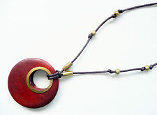 & Gold Beads - Brand New Accessorize Necklace - Large Round Wooden Pendant