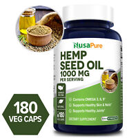 NusaPure Hemp Seed Oil 1000mg - 180 Veg Caps (Non-GMO & Gluten-free)