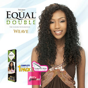 EQUAL DOUBLE BEACH CURL WEAVE 4PCS + CLOSURE&BANG CURLING IRON SAFE FREETRESS