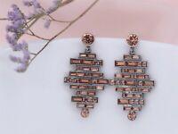 Boucles d`Oreilles Clou Doré Chandelier Cristal Rose Art Deco Mariage Retro XX21