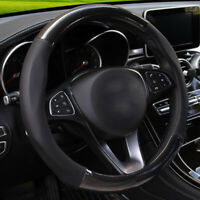 1Pc Carbon Fiber Stitching Leather Steering Wheel Cover Non-slip 15 inch 38cm l
