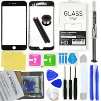 Black iPhone 8 Plus Front Glass Lens Screen Replacement Kit LOCA glue wire tool