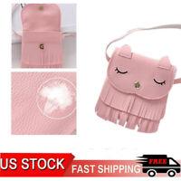 Lovely Kids Girls PU Leather Tassel Small Cat Shoulder Messenger Bag Purses US