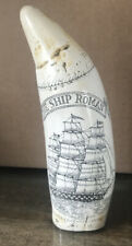 Antique Faux Scrimshaw Carving ~ The Ship Roman ~ Etching 6""