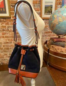 Dooney & Bourke Navy Blue Suede Small Drawstring Bag New Bucket