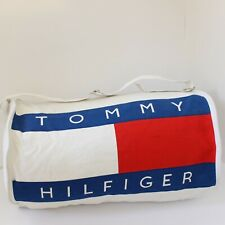 "Tommy Hilfiger Duffle Gym Bag White Color Block Spell Out Logo 21"" Travel Vtg"