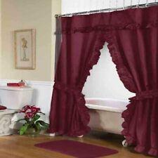 "Carnation Home ""Lauren"" Double Swag Shower Curtain Burgundy"