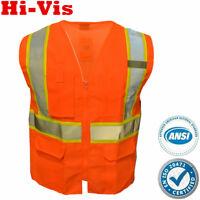 Safety Work Hi Vis ANSI Class 2 Reflective Tape Vest High Visibility Neon Orange