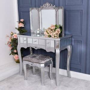 Silver Mirrored Dressing Table Triple Mirror Stool Furniture Set Venetian Glass