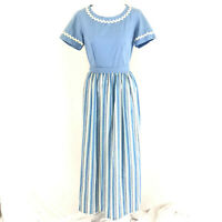 Sears Maxi Dress Vintage Striped Short Sleeve Tie Waist Blue White Size 8