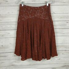 ANTHROPOLOGIE Moulinette Soeurs Nolana Skirt Sz 0 Burnt Red Orange Lace Overlay