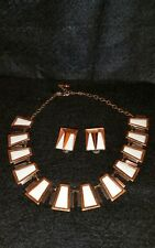 Matisse Copper & White Enamel Necklace & Earrings Set Mid Century Modern