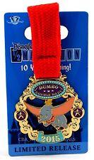 New Disneyland Half Marathon Dumbo Double Dare Medal Pin 10 Years of Running