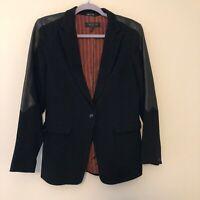 Rag & Bone Size 6 Black with Leather Detail Blazer Jacket Career Formal Work