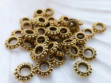 50 x Tibetan Style Round Doughnut Ring Beads 8mm x 2mm Antique Gold LF (MBX0001)