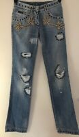 DOLCE & GABBANA D&G Heavily embellished Distressed Ripped jeans IT38