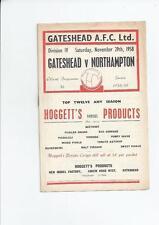 Gateshead v Northampton Town 1958/59 Football Programme