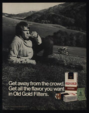 1971 OLD GOLD Cigarettes - Man Relaxing on Hill Smoking - Motorcycle  VINTAGE AD