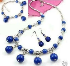 Tibet Silver Lazuli Lapis Gemstone Necklace18'' Bracelet 7.5'' Earring 1Set